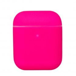 Чехол силиконовый для беспроводных наушников Apple AirPods Розовый (фукси)